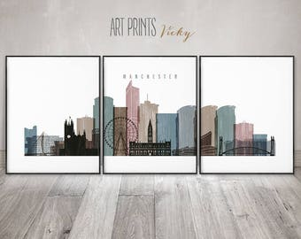 Manchester prints set of 3 pieces posters by ArtPrintsVicky