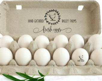 Personalized Chicken Egg Carton Stamp - Chicken Gift - Chicken Egg Carton Label - Free Shipping - Custom Egg Cartons - Farm Name Stamp