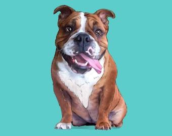 Pet Portrait. Dog portrait. Digital dog portrait. Cat portrait. Cartoon pet portrait. Pet memorial Pet loss gift. Dog illustration printable
