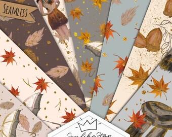Autumn Digital Paper Pack: Fall Fashion illustration, fall digital paper, planner stickers, glitter, fashion seamless pattern, Backdrop jpeg
