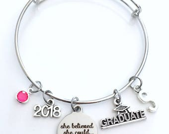 Graduation Bracelet Gift 2018 or 2017 Student Grad Silver Bangle She believed she could so she did University Jewelry College High School