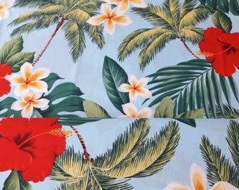 Blue Hawaiian Fabric with Red Hibiscus, plumeria, Palm Trees, Monstera Print, 100% cotton poplin, aloha material, by the half yard or yard