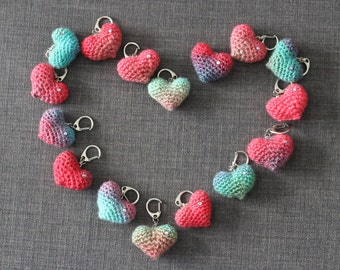 RAINBOW HEART Ombre Crochet Keychain/Charm with Swarovski Crystal - Customizable Wedding Table Decor/Favors/Toppers