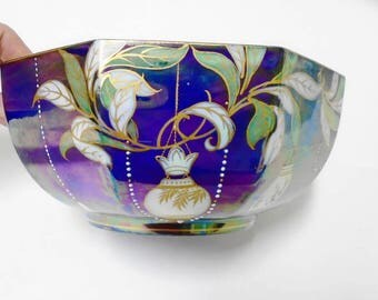 Shelley Aurora Borealis Fruit Bowl, Iridescent jewel enamel fruit bowl, antique bowl, cobalt bowl, blue bowl
