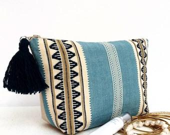 Makeup bag, Boho Modern makeup bag, Woven striped cosmetic bag, Boho modern accessory pouch, girlfriend gift, boho modern gifts