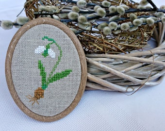 Snowdrop cross stitch wall decor mini hoop art hangings Spring decorations framed cross stitch Easter gift nature inspired rustic decor