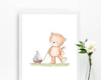Baby nursery art, Animals prints, Tiger wall art, Kids room decor, Playroom wall art, Safari animals, Watercolor print