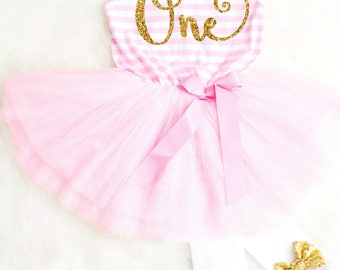 First Birthday Outfits Girl 1st Birthday Outfit First Birthday Dress Pink Birthday Tutu Outfit Cute Birthday Outfits Pink and Gold Tutu
