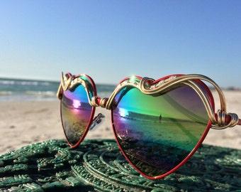 RAiNBOW Wire Wrap Reflective HEART Sunglasses Eyewear Sunnies / Hippie Boho Gypsy Festival EDC Coachella Bonnaroo Glasses / Free Shipping
