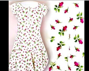 Betsey Johnson Ivory Pink Rosebud Floral Short Sleeve Drawstring Flared Tunic Mini Dress S/M