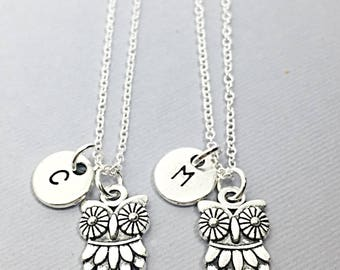 Owl Jewelry Gift, Owl Jewelry, Custom Owl Necklace, Best Friend Necklace, Set of 2 necklaces, silver owl jewelry gift