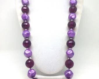Vintage Estate Purple Lavender Beaded Gorgeous Gold Tone Necklace