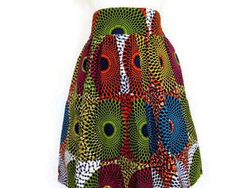 African Print Skirt With Pockets - Maxi Skirt - Skirt with Pocket - African Print Knee Level Skirt - Ready to Ship Skirt