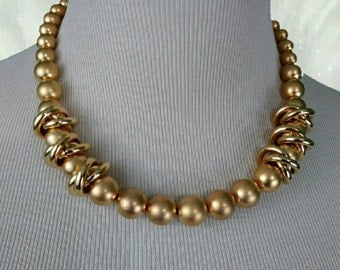 Vintage Mid Century Frosted Gold Tone Beaded Choker Necklace Large Like New