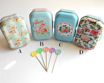 Button Sewing Pins - Pins in Tins - Decorative Sewing Pins - Quilting Pins - Floral Tin with Pins - Pastel Button Pins - Quilt Retreat Gifts