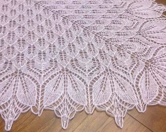Hand-knit Lace Shawl Poncho Scarf Wrap Women Gift