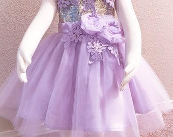 Lavander flower girl dress, sequin flower girl dress, lace flower girl dress, first birthday dress, toddler dress, couture girl dress