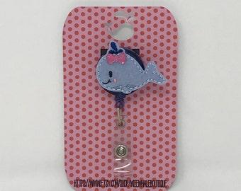 Girly Whale Felt Badge Reel, Girly Whale Felt Badge Holder, Pediatric Badge Holder, Girly Badge Holder