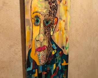 """Wall, Art, """"EARLY BIRD"""", Intense, face, colorful, yellow, painted, image, original, Larry Cutler, Outsider,  Folk Art - Price REDUCTION, !!!"""