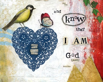 A3 Fine Art Print of 'Be Still and know that I AM God (Elohim)'-Psalm 46:10 from an original Mixed Media painting by Karen Lindsay