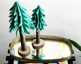 Vintage Gold Hangable Vanity Mirror Tray with Metal Flower Filigree Design Rim