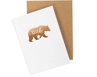 Thinking of You Card, Sympathy Card, Bear Hug Card, Card for Friend, Just Because Card, I Love You Card, Get Well, Foiled Card, Blank Card,