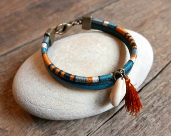 Teal bracelet gift for her, Handmade Boho women jewelry, Aquamarine blue leather bracelet and woven threads bangle, Mother's day gift ideas