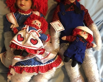 Vintage Raggedy Ann & Andy Porcelain Dolls By Kelly RuBert and Their Dolls/Mint Condition In The Boxes/Danbury Mint