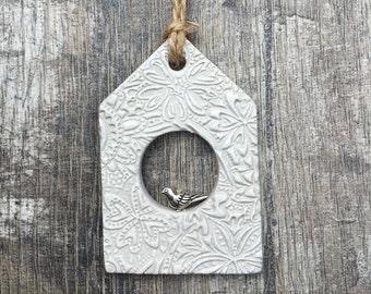 Grey Birdhouse Decoration - unique birdhouse, decorative birdhouse, rustic birdhouse, wall hanging, door hanger, clay tags