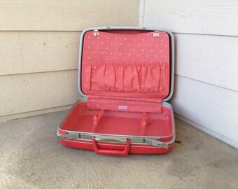 1960s Cute Red Pink Vintage Samsonite Luggage.Wedding Card Holder Mid Century Suitcase Vintage Luggage.Mid Century Luggage DIY Wedding Decor