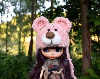 Blythe hat Blythe Teddy bear Hat Blythe Outfit Blythe Doll Clothes Blythe pink Doll knitting Blythe helmet Blythe wear Blythe plush hat
