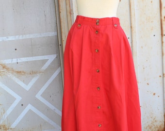90's High Waisted Red Maxi Skirt- S
