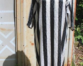 80's Black and White Striped Tunic Dress - M/L