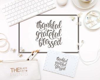 Thankful Grateful Blessed SVG file for Cricut Lettering svg design Sayings svg Heat transfer files T-shirt design Svg craft files for cut