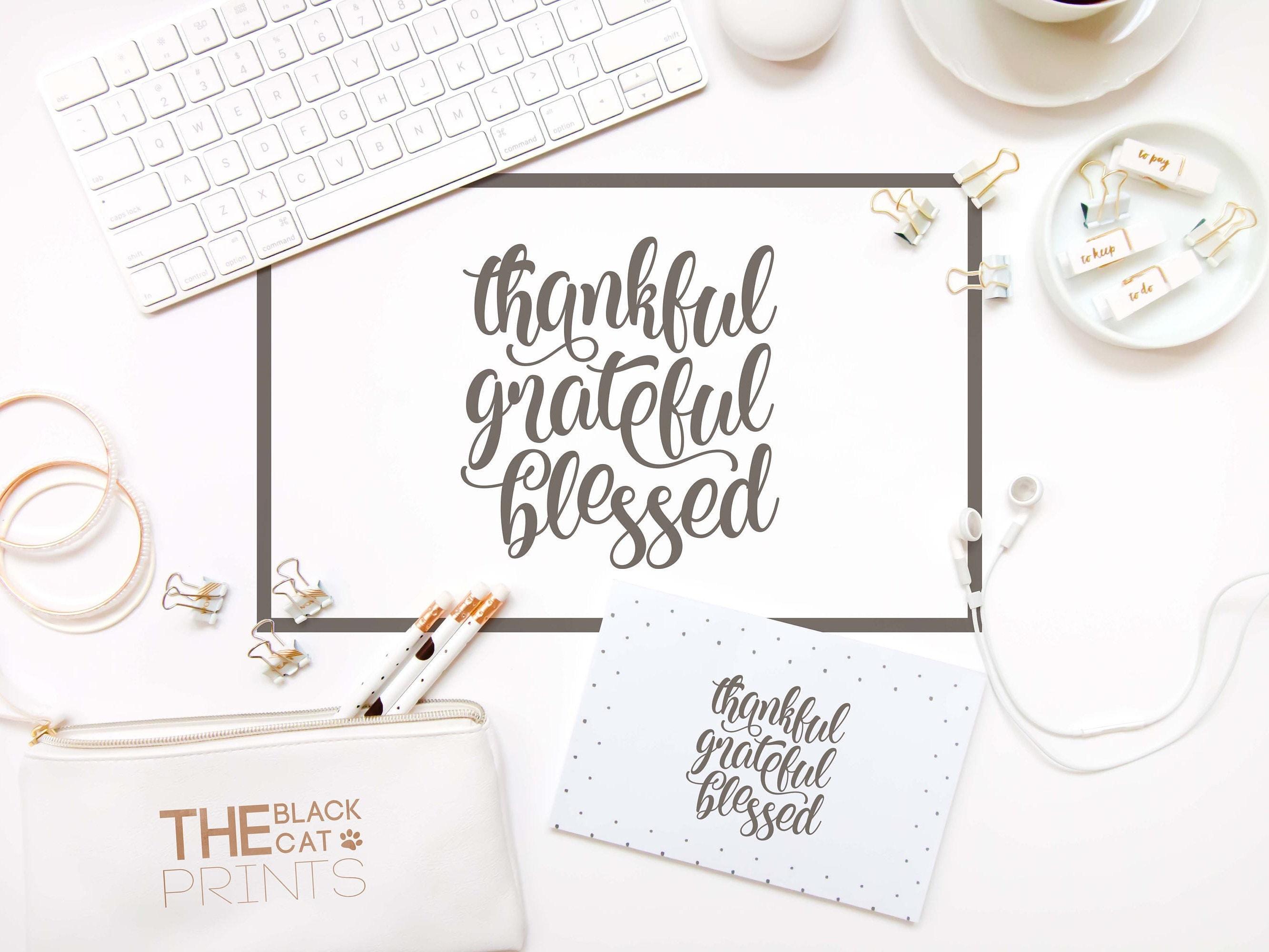 Thankful Grateful Blessed Svg File For Cricut Lettering Svg
