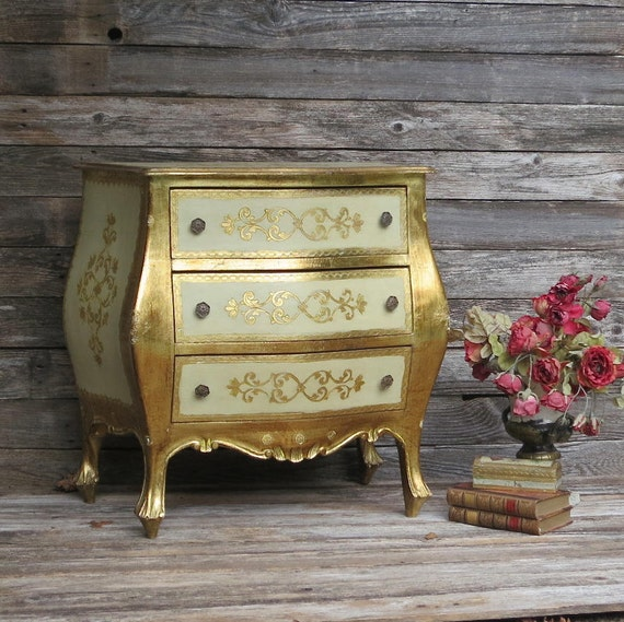 Antique Italian Florentine Bombay Nightstand Chest of Drawers