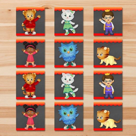 Daniel Tiger Match Party Game - Red Chalkboard - Boy Daniel Tiger Party Match Game - Daniel Tiger Birthday Party - Daniel Tiger Party
