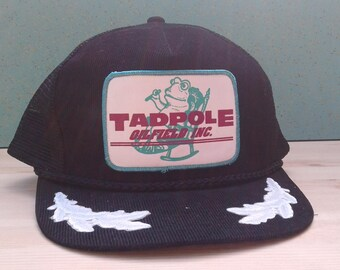 "Vintage 80's ""Tadpole Oilfield Inc."" Corduroy Mesh Snapback Black and White Cap"