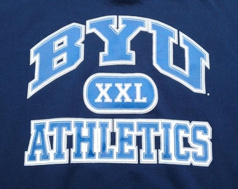 Vintage 90's Brigham Young University BYU Cougars Crewneck Sweatshirt dark blue Made in the USA