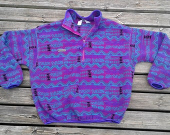 Vintage 90's Aztec Design Columbia Sportswear Company Fleece Pullover Purple / Teal / Pink / Black Made in USA Ladies XL