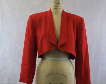 Red Hot 1990's Open Front Bolero | Cropped Jacket | PSI by Alvin Bell | Size Small 4 | Oversized Look | Evening Jacket | Hip Hop | Crop