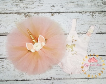 Unicorn Birthday Outfit, Unicorn headband, Unicorn Birthday tutu set, Unicorn Romper, Peachy pink and gold unicorn set,Unicorn Girls Costume