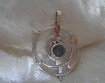 Labradorite silver and copper spiral