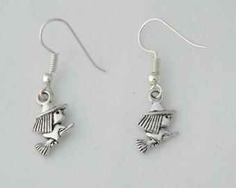 Tiny witch earrings, mini earrings, Halloween witch gift, magical spooky earrings, cute little witch earrings, flying witch earrings