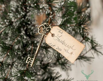 Our Nest Key Ornament | Personalized Christmas Ornament | Rustic Christmas Decor | Shabby Chic Christmas | Farmhouse Christmas | Family Gift