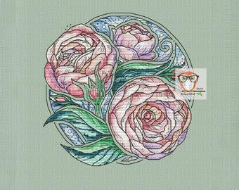 PEONY cross stitch flower pattern, floral cross stitch pattern, flower embroidery design floral embroidery pattern modern cross stitch fairy