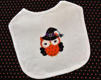 Baby girl Halloween owl applique bib