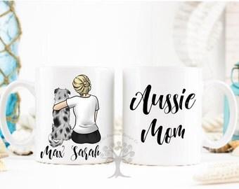 Australian Shepherd Mug, Personalized Aussie Mug, Aussie Mug, Dog Lover Gift, Gift For Dog Mom, Gift For Aussie Mom, Aussie Gifts