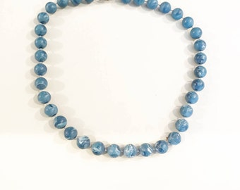 Vintage Blue Marblized Bead Choker Necklace