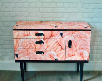 SOLD SOLD Upcycled Mid Century Vintage Retro Schreiber Dressing Table Chest of Drawers Pink Flamingo Decoupage